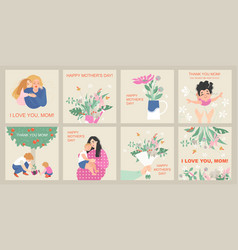 mothers day card set with cute cartoon characters vector image
