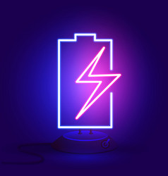 neon battery with zipper on the stand glows in vector image