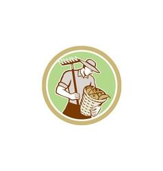 Organic Farmer Holding Rake Harvest Basket Retro vector