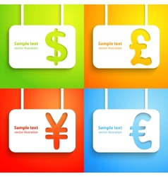 Paper currency signs - dollar euro yen and pound vector image