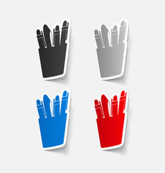 Paper sticker set icons pen and pencil vector