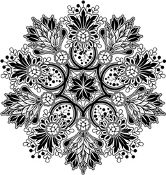 Radial geometric floral ornament vector image