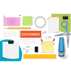 realistic stationery elements composition vector image