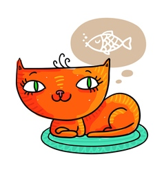 Red cat dreaming of a fish isolated on white vector