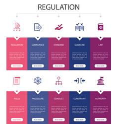 Regulation infographic 10 option ui design vector