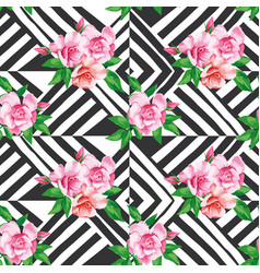 roses seamless pattern black white background vector image