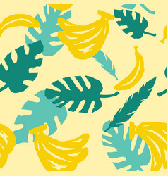 Seamless banana pattern with leaves vector