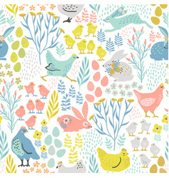 seamless pattern with bunnies and chicken vector image