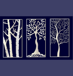 set decorative laser cut panels with tree vector image
