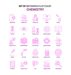 set of 25 feminish chemistry flat color pink icon vector image