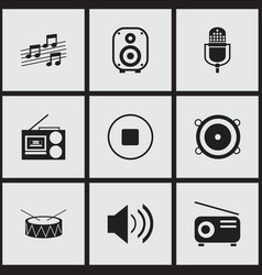 Set of 9 editable music icons includes symbols vector