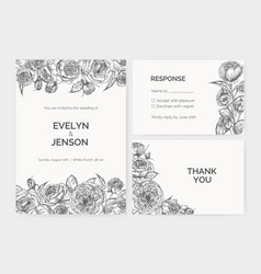 Set of elegant wedding invitation response card vector