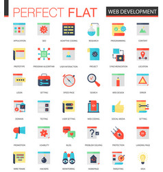 set of flat web development icons vector image