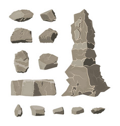 Set of rock stone stones rocks in variuos sizes vector