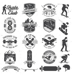 Set of skateboard and longboard club badges vector