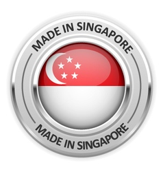 Silver medal Made in Singapore with flag vector image