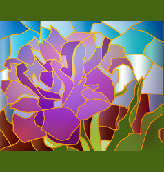 Stained glass purple tulip vector