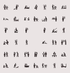 Stick figure children and family vector