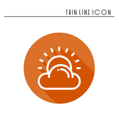 Sun cloud line simple icon weather symbols vector