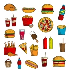 Takeaway and fast food snacks vector
