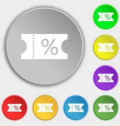 ticket discount icon sign Symbols on eight flat vector image