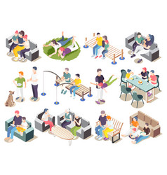 time together isometric icon set vector image