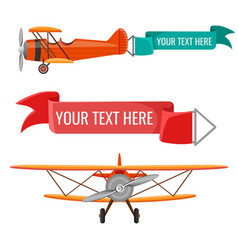 two biplanes with advertising posters air vector image