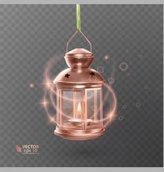 Vintage luminous lantern of orange color with vector