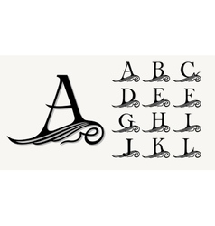 Vintage set 1 calligraphic capital letters vector
