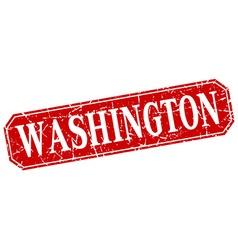 Washington red square grunge retro style sign vector image