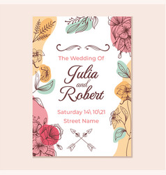 wedding invitation template with flower print vector image