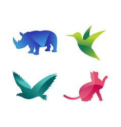 wild animals jungle pets logo silhouette vector image