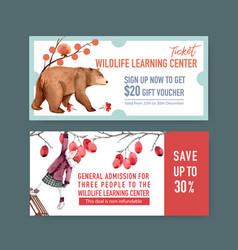 Winter animal voucher design with berry plum bear vector