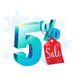 Winter sale 5 percent off vector