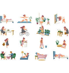Woman routine icons collection vector