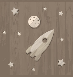Wooden rocket moon and stars on wooden background vector