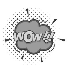 wow text sound effect icon monochrome vector image