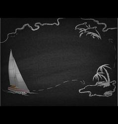 Yacht in ocean drawn on blackboard vector image