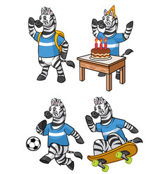 Zebra cartoon set vector