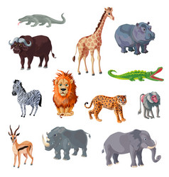 cartoon african animals set vector image