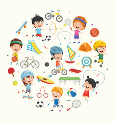 collection of kids and sport equipments vector image