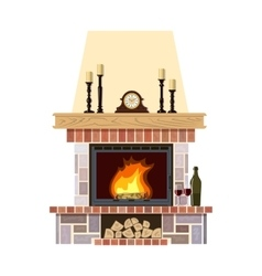 Cozy flaming fireplace vector image vector image