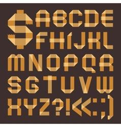 Font from yellowish scotch tape - Roman alphabet vector image