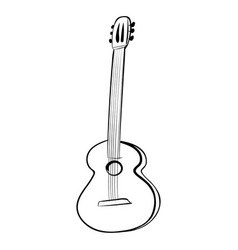 guitar acoustics icon black and white vector image