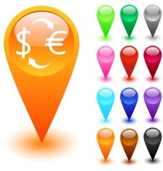 Money exchange button vector image vector image