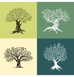Olive trees silhouette isolated icon set vector