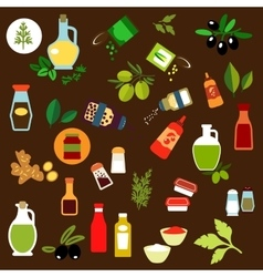 Condiments spices herbs and oil flat icons vector