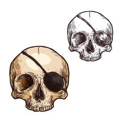 halloween sketch icon skull skeleton vector image