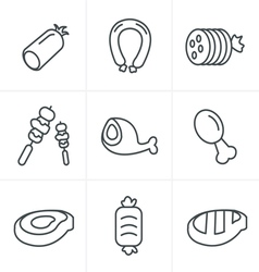 Line Icons Style black meat and sausage icon vector image