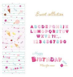party design elements set candy font design and vector image vector image